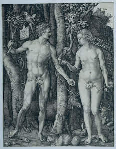 Albert Dürer- The Fall Of Man Adam and Eve 1504_nevartakademi